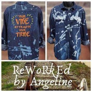 Acid Washed Denim Shirt Hand-Painted Vibe Large